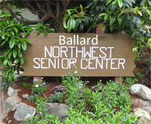 Wooden sign for Ballard Northwest Senior Center